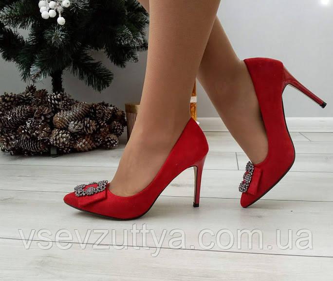 Туфли красные женские на каблуке шпильке екозамша 36р