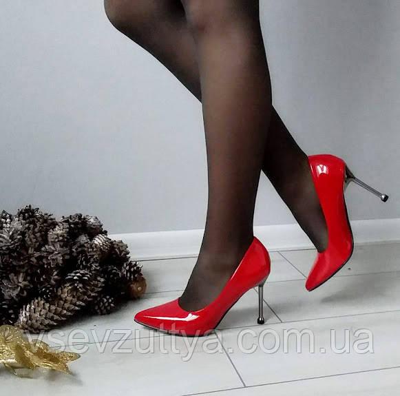 Туфли красные женские на каблуке шпильке лаковые