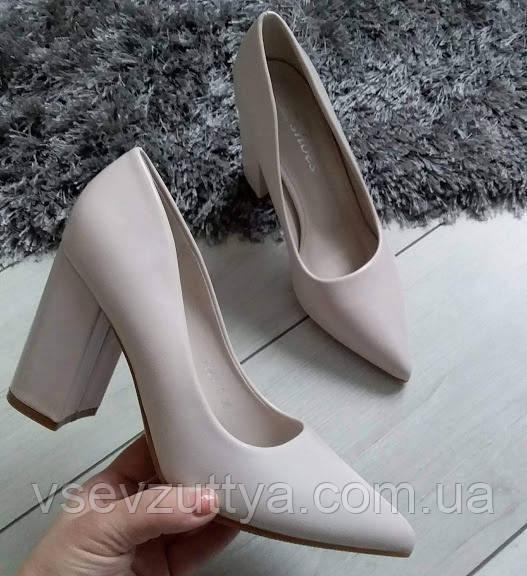 Туфли бежевые женские на каблуке экокожа 36