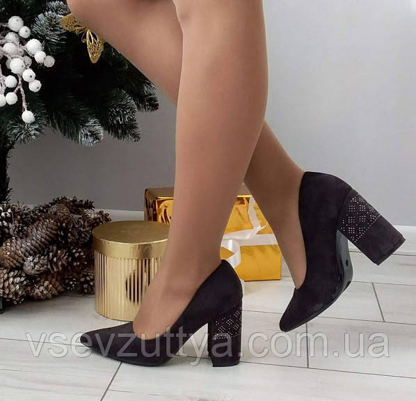 Туфли женские на каблуке екозамша 37р