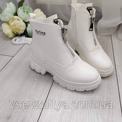 Ботинки женские белые экокожа