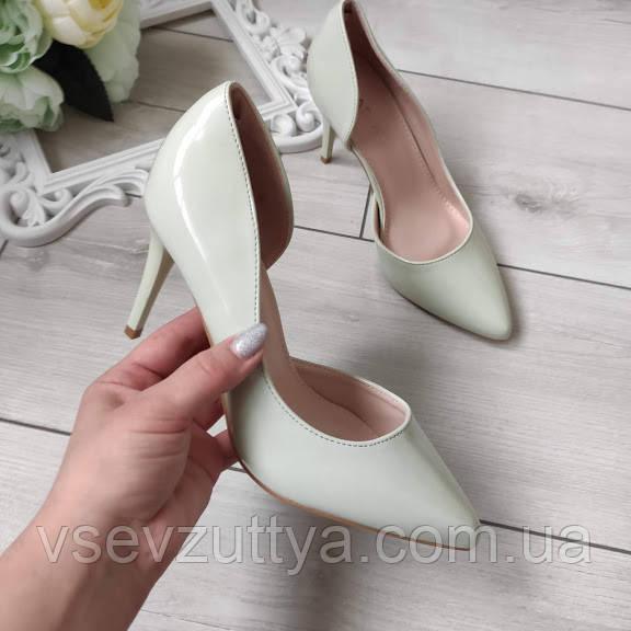 Туфли лаковые лодочки мятные женские на каблуке шпильке 40р