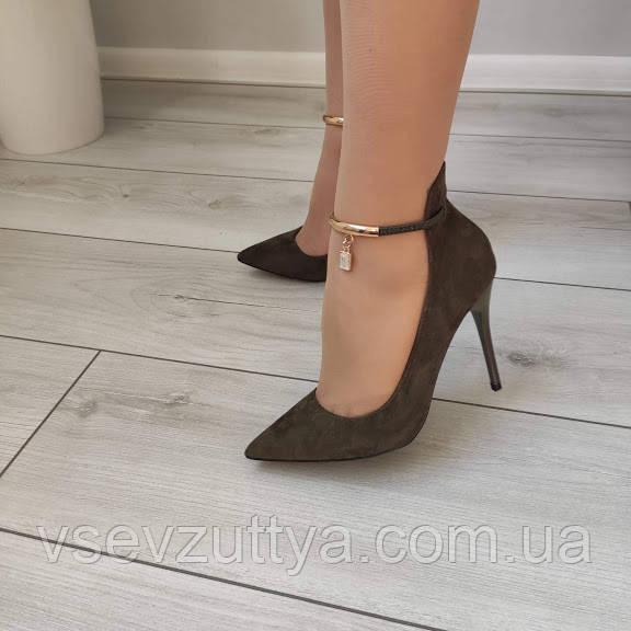 Туфли лодочки черные женские на каблуке шпильке екозамша