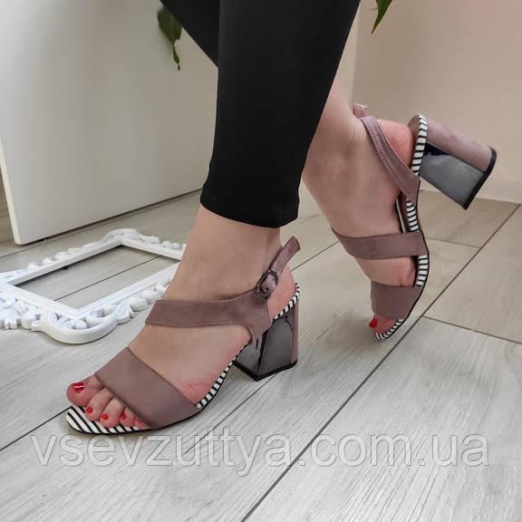 Босоножки женские на каблуке пудровые екозамша 37р