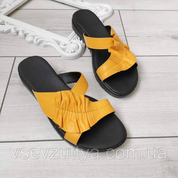 Шлепанцы женские желтые кожаные 36р