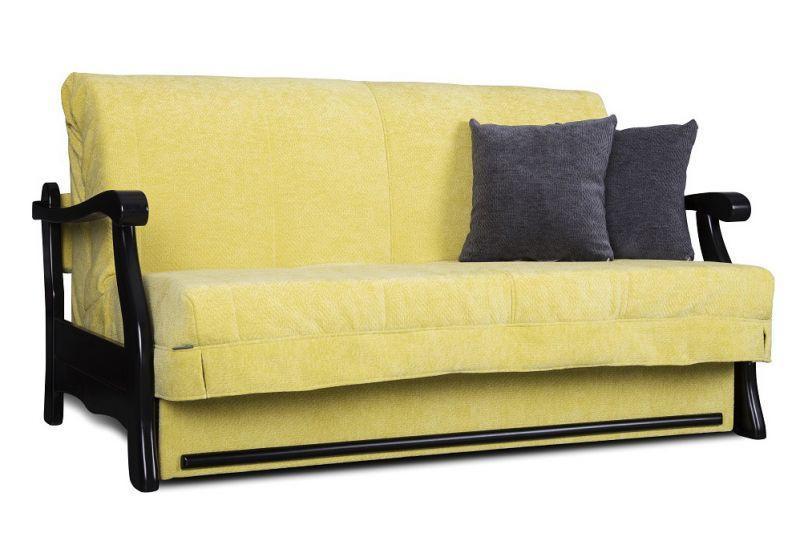 Жёлтый диван - кровать аккордеон Рим Константа от 0,7 м до 2м с деревянными подлокотниками