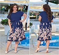 Р 48-54 Летнее льняное платье с юбкой плиссе Батал 21938, фото 1