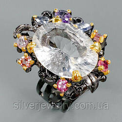 Серебряное кольцо с ГОРНЫМ ХРУСТАЛЕМ (натуральный), серебро 925 пр. Размер 18,5