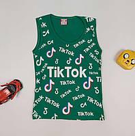 Майка летняя из трикотажа для девочки с принтом Tik Tok 110-128 р
