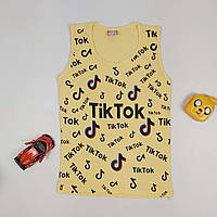 Майка летняя трикотажная для девочки с принтом Tik Tok 134-152 р
