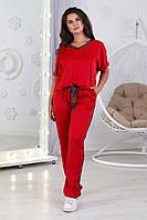 А802 Женский комплект со штанами на шнурках большого размера красный/ красного цвета