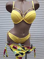 Купальник большой пуш-ап портупеи с двумя плавками Sisianna 98202 желтый на 46 размер