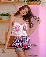 Женская пижама шелковая Пончик Донат ( комплект майка шорты )