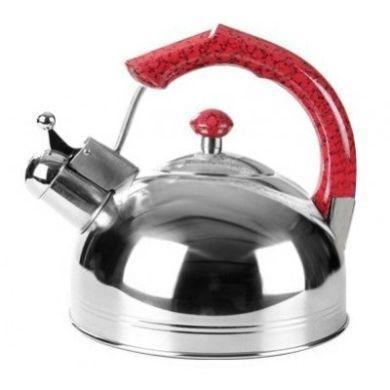 Чайник зі свистком з нержавіючої сталі Maestro MR-1309 (3 л) червоний   металевий чайник Маестро, Маестро
