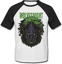 Футболка Fat Cat Wolf - Wolves Night (белая с чёрными рукавами)