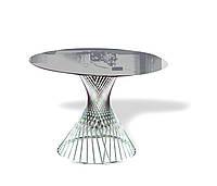 Столик круглый, столешница стекло, каркас НЖ сталь. диаметр 1200мм, высота 750мм