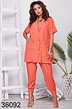 Стильный костюм брюки + пиджак с коротким рукавом р. 48-50, 52-54, 56-58, фото 2