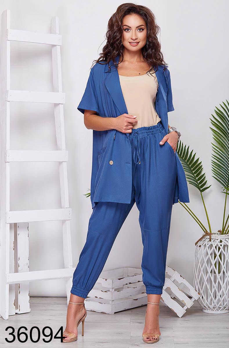 Стильный костюм брюки + пиджак с коротким рукавом р. 48-50, 52-54, 56-58