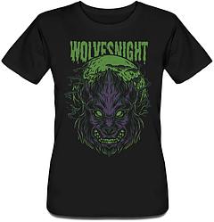 Женская футболка Fat Cat Wolf - Wolves Night (чёрная)