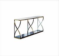 Столик туалетный, столешница стекло, каркас НЖ сталь. длинна 1500мм, ширина 200-350мм, высота 800-1000мм