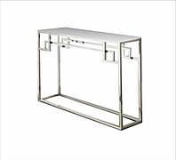 Столик туалетный, столешница стекло, каркас НЖ сталь. длинна 700мм, ширина 200-350мм, высота 800-1000мм