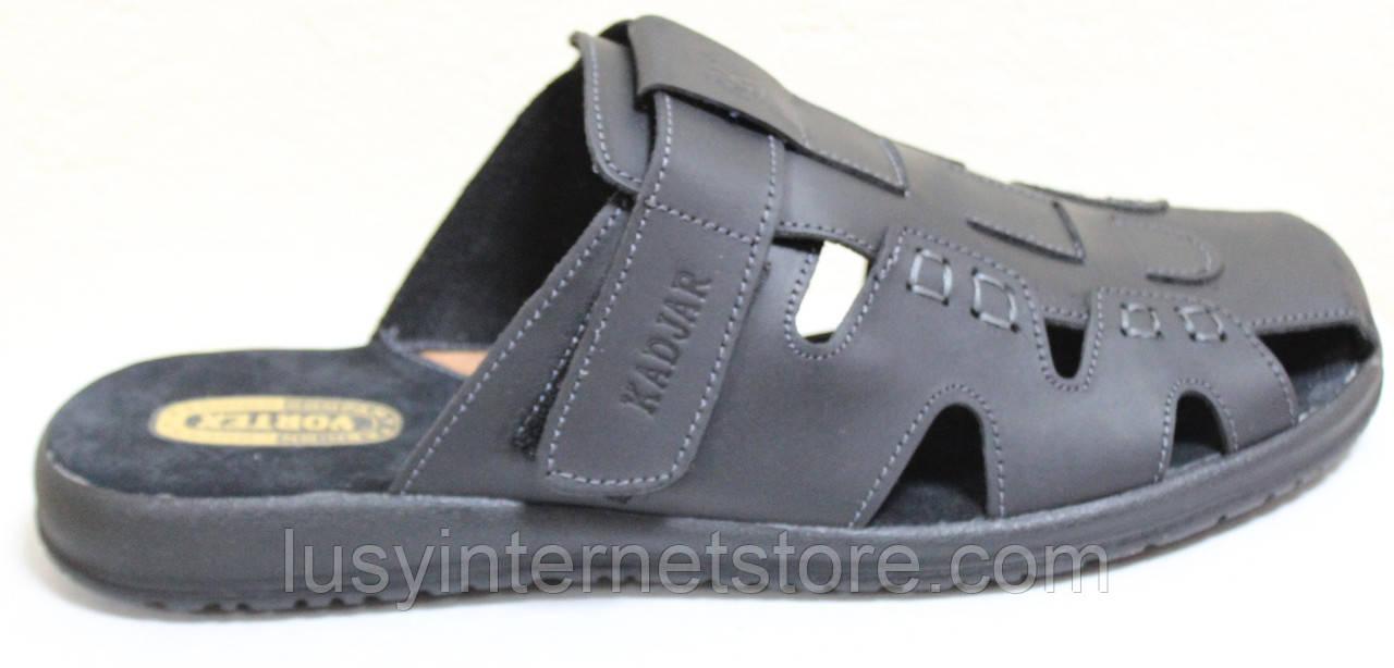 Мужские шлепки черные кожаные от производителя модель ВА-С51Ч