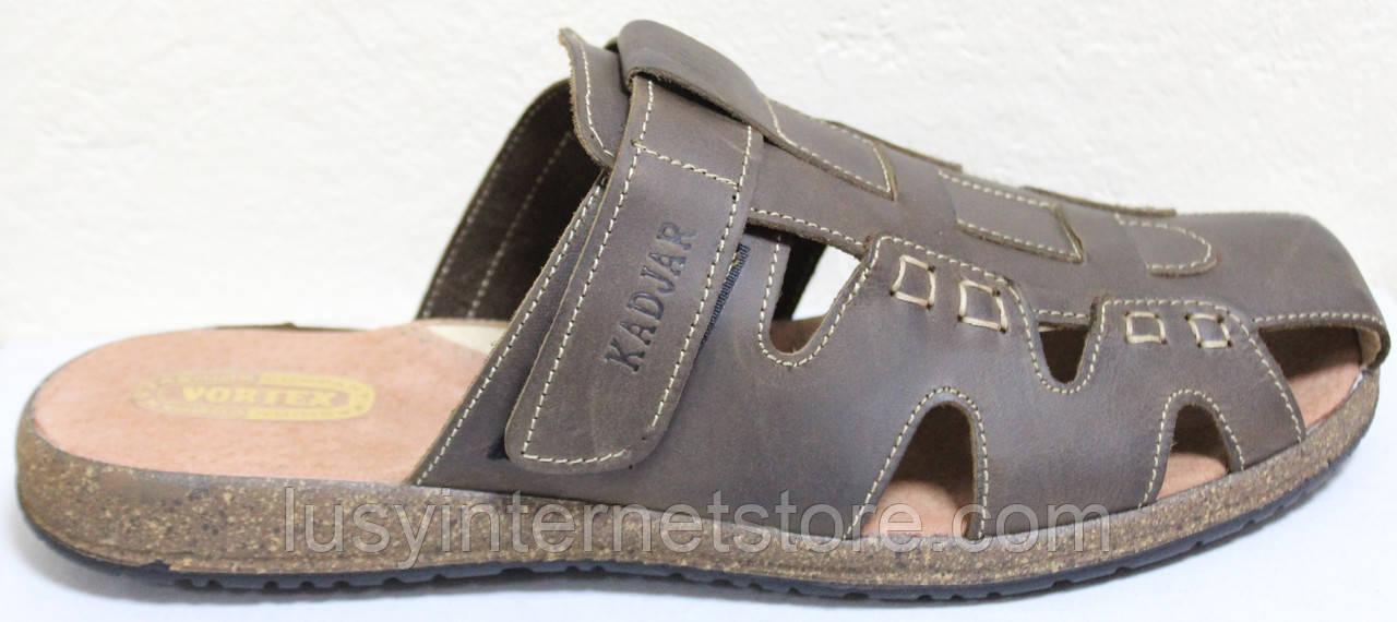 Летние мужские шлепки кожаные, летняя мужская обувь от производителя модель ВА-С51К