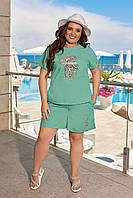 Костюм женский с шортами большого размера льняной ментоловый
