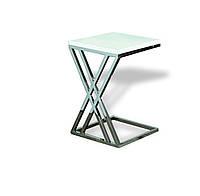 Кавовий столик, стільниця скло, каркас НЖ сталь. длинна400мм, ширина400мм, высота500мм