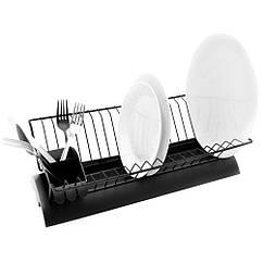 Подставка сушка с поддоном для посуды Orion из нержавеющей стали Черный