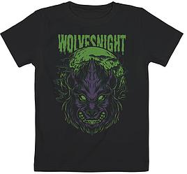 Детская футболка Fat Cat Wolf - Wolves Night (чёрная)
