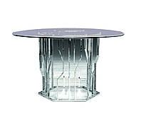 Круглый стол, столешница стекло, каркас НЖ сталь. диаметр 1000мм, высота 750мм