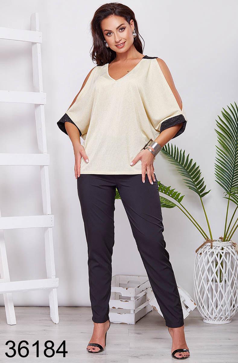 Женская блузка с разрезами на рукавах р. 50-60