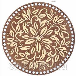 Донышко из фанеры круглое окрашенное 25 см,цвет Каштан