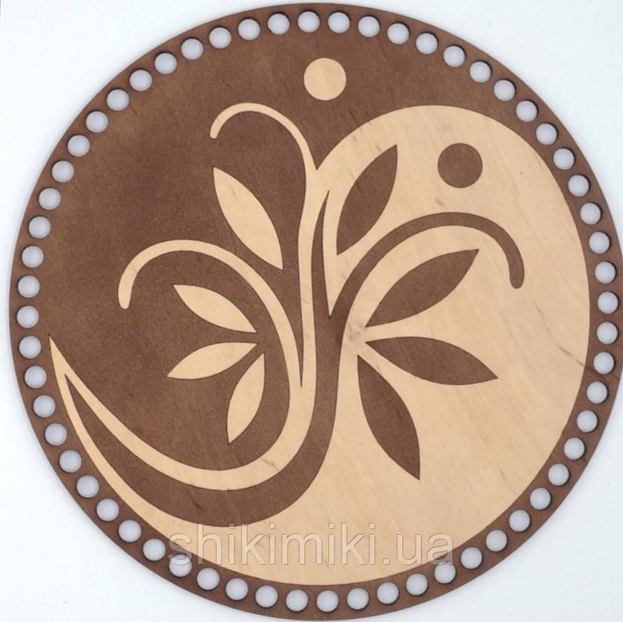 Донышко из фанеры круглое окрашенное -5 (25 см), цвет Каштан