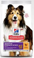 Hills canine adult sensitive stomach and skin   сухой корм для собак курица с яйцом и рисом - 2,5 кг