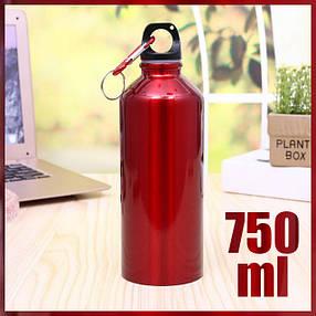 Бутылка для води алюминиевая, фляга для воды с карабином на 750 мл. Металлическая бутылка туристическая, фото 2