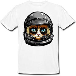Футболка Fat Cat Grumpy Cat Astronaut (белая)