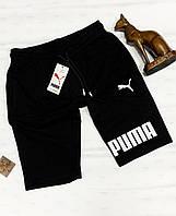 Шорты мужские Puma Трикотаж пояс на резинке и шнурок на лето Качество LUX Реплика (разные цвкета) Черные