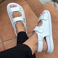 Босоножки женские белые кожаные на липучках в стиле шанель 37 размер