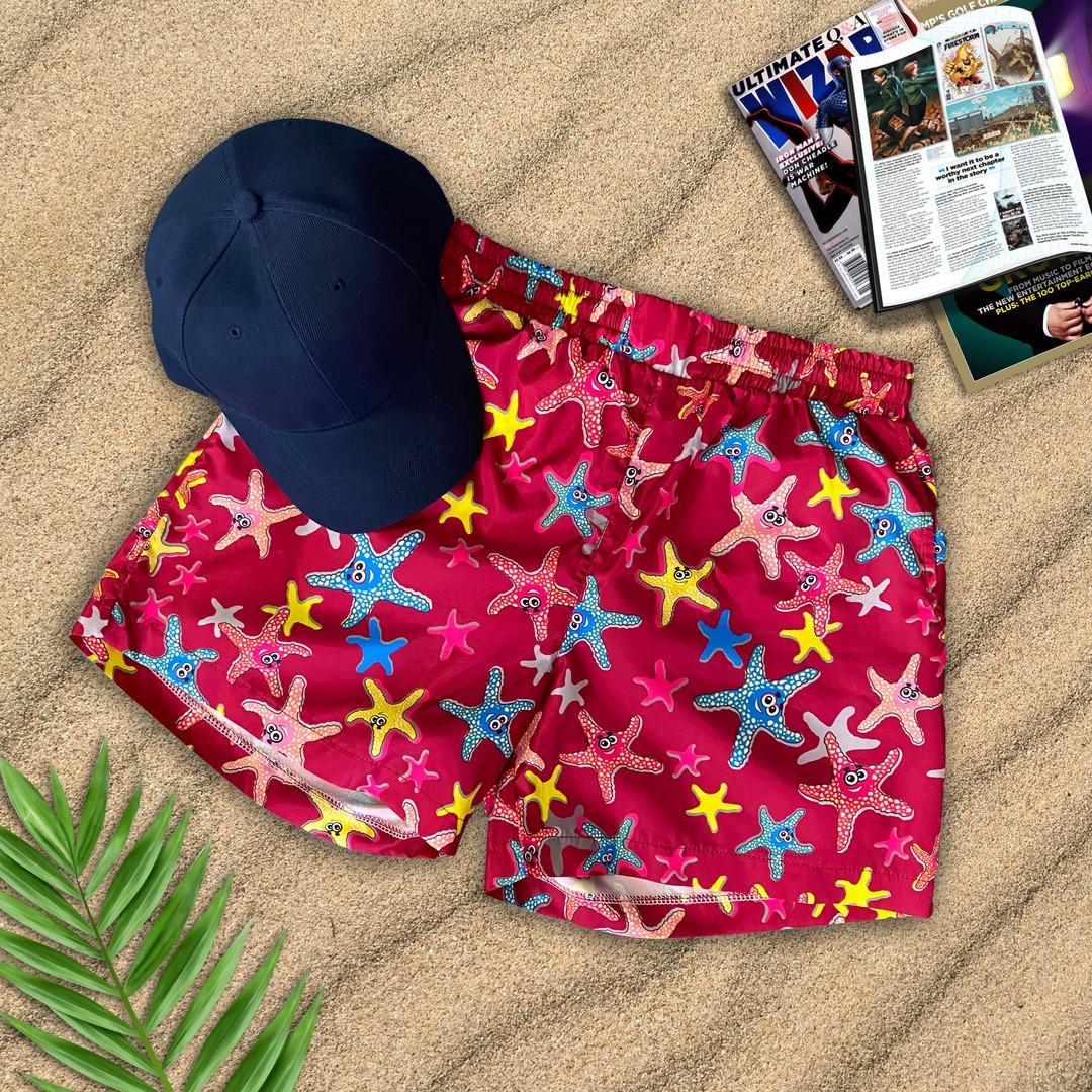 Чоловічі пляжні шорти для купання c малюнком морські зірки швидковисихаючі