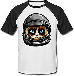 Футболка Fat Cat Grumpy Cat Astronaut (белая с чёрными рукавами)