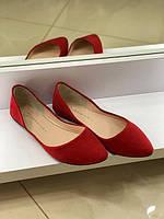 Lottini балетки червоні замш класика (36-40)