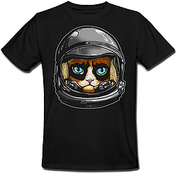 Футболка Fat Cat Grumpy Cat Astronaut (чёрная)