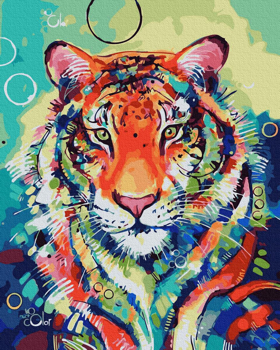 Картина по Номерам Красочный тигр 40х50см RainbowArt