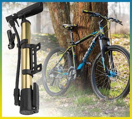 Насос для велосипеда з кріпленням на раму. Насос ручний для велосипеда та підкачування м'ячів, фото 2