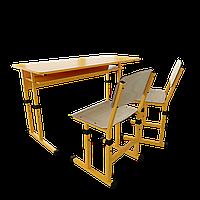 Парта шкільна класична регулююча двомісна +стільці / Парта школьная классическая двухместная +стулья