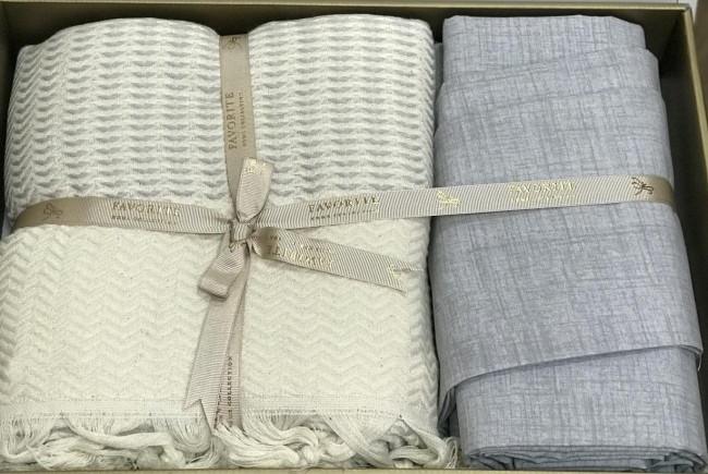 Летнее постельное белье лён 2-спальное евро FAVORITE Armani светло-серое