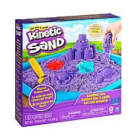 Набор песка для детского творчества - KINETIC SAND ЗАМОК ИЗ ПЕСКА фиолетовый 454 г формочки лоток, фото 1