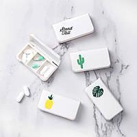 Карманная таблетница Mini pill case содержит три отсека Утро/День/Вечер